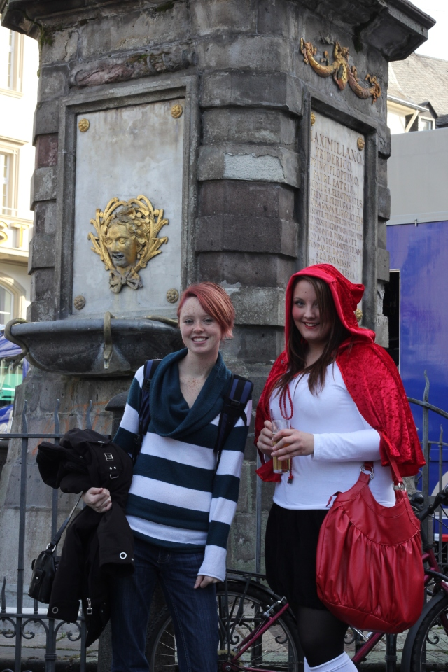 Me standing next to a woman dressed as Red Riding Hood in the town square. Bonn was getting into the Karneval spirit, too.