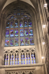 A stained glass window inside the cathedral