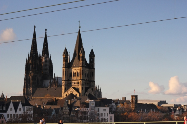 The view from the bridge was incredible. Here is the Kölner Dom again. I love the late afternoon sunlight.