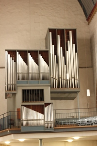Pretty little asymmetrical organ in a small evangelical church in Erfurt