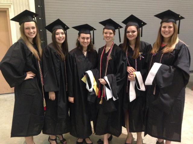 Comm majors getting ready for graduation! I'm third from the right.