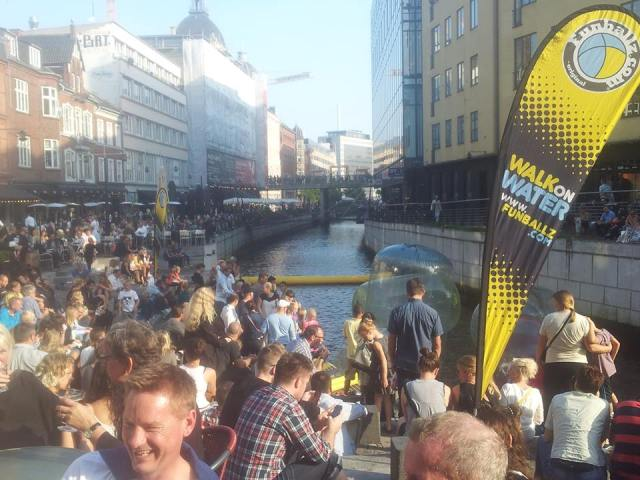 Aarhus city center, along the canal. It's not normally this crowded, but there was a festival going on.