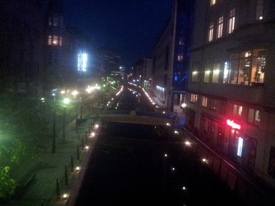 The canal at night. This was really beautiful in real life and my crappy phone didn't even come close to capturing it, so you'll just have to use your imagination here.