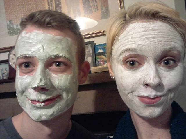 One evening Edwin and I decided to try out one of my presents - face masks! It was pretty fun. Awkward smiles due to the fact it was hard to move our faces.