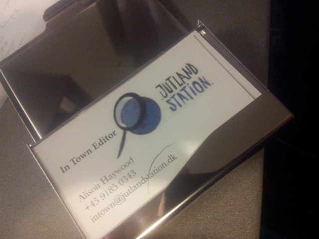 We got an early Christmas present today - personalized Jutland Station business cards! (With a shiny metal holder.(