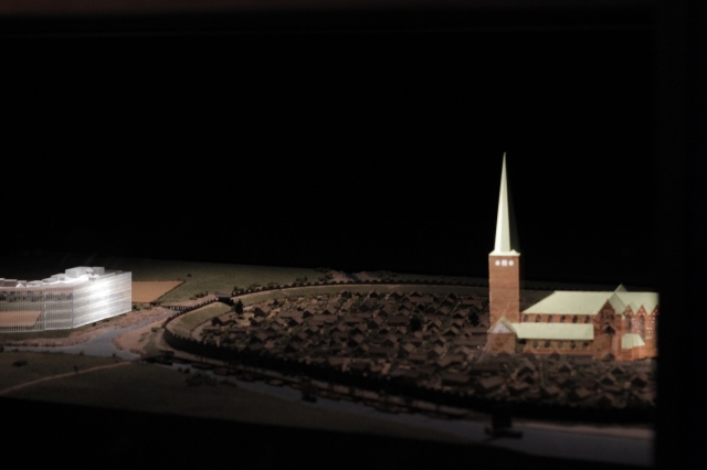 Model of ancient Aarhus with the cathedral projected onto it for perspective. It looks so much different now!