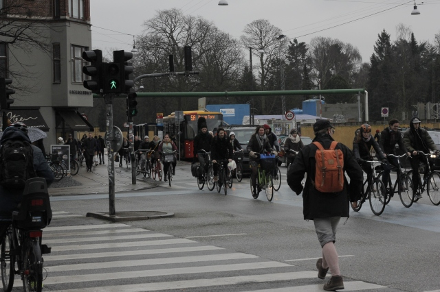 Rush hour in Copenhagen. Cycling is a popular form of commuting in the capital - it's definitely the cheapest option, and sometimes the fastest as well.
