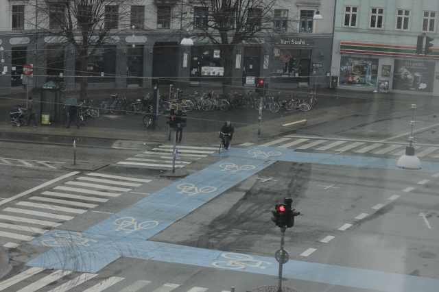 Cycling in Copenhagen is both easy and safe. Look at the size of those bike lanes!