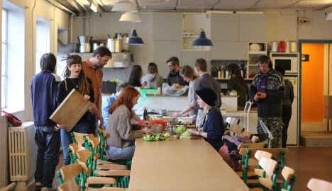 The People's Kitchen in Aarhus meets every Sunday at the Trøjborg Beboerhus.