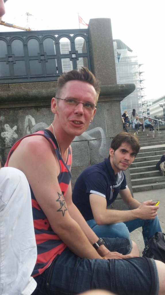 Alex and Adrian hanging out at Jungfernstieg after the parade. I met Adrian (right) during Hamburg Pride 2013.