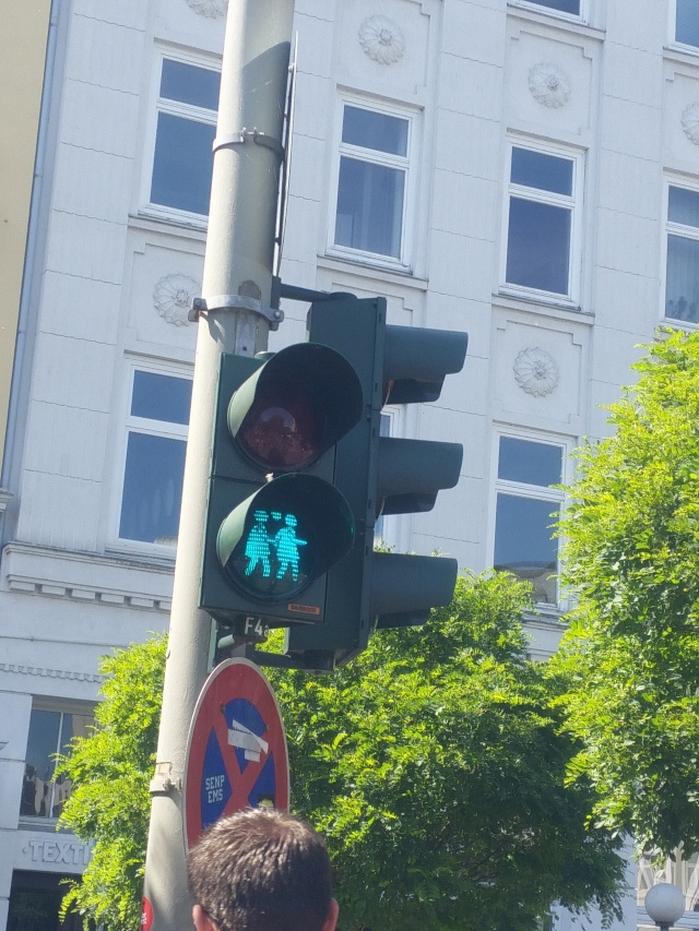 The Ampelmännchen in St. Georg, the gay district of Hamburg, were changed to same-sex couples. The red