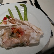 I ordered the salmon, which strangely arrived wrapped in paper.