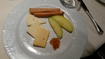 I ordered a cheese plate for dessert. It appeared rather underwhelming, but tasted quite good.