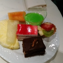 I stocked up on desserts and sliced melon at the end of the meal.