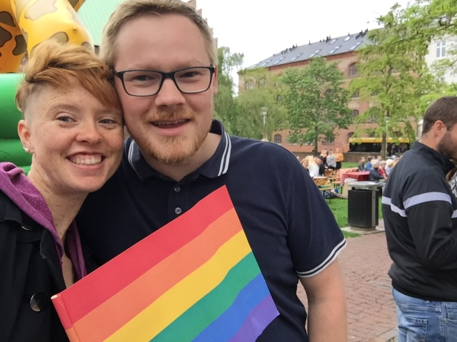 Selfie with two friends at Aarhus Pride 2019