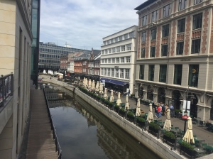 The canal in the city center of Aarhus, Denmark